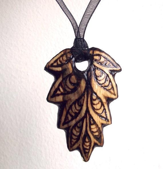wood leaf necklace wooden pendant carved leaf pendant