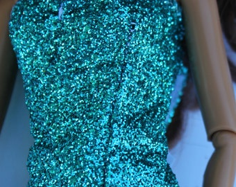 11.5 inch doll clothes - sparkly blue tube top