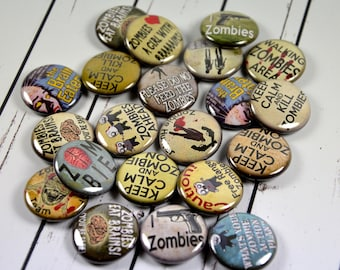 """20 Zombie Pin Back Badges, 1"""" Pinbacks, Fun Zombie Buttons, Halloween Party Favors, Zombie Zipper Pulls"""
