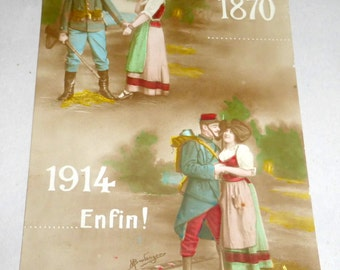 Antique WWI France Colored Photo Postcard Start and End of War 1870 - 1914