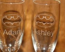 Set of Etched Batman Inspired Champagne Flutes