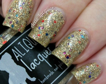 Shores of Paradise - 15 ml - gold and brown microglitter with jewel-tone hexes - indie polish by ALIQUID Lacquer