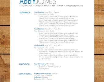 resume template instant word document modern
