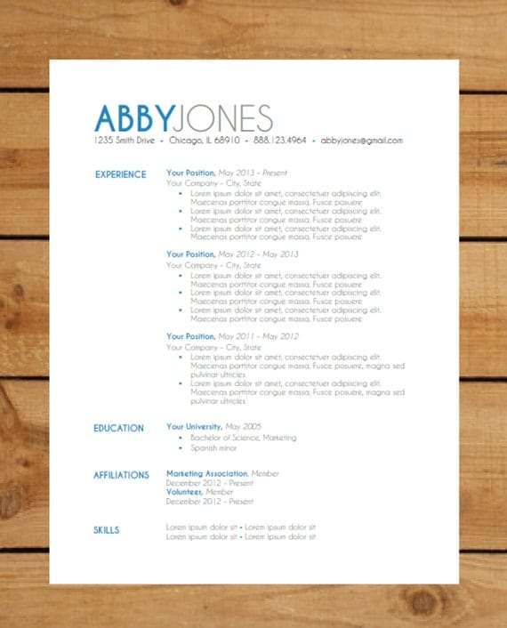 resume template package instant by clingdesigns
