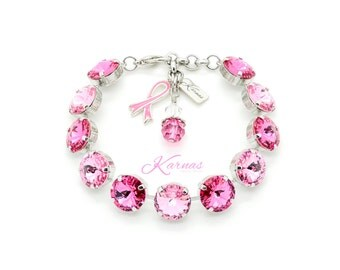 BREAST CANCER AWARENESS 12mm Rivoli Bracelet Swarovski Elements *Sterling Charm *Pick Your Finish *Karnas Design Studio *Free Shipping*