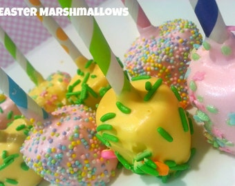 Easter Marshmallows. Easter treats. Easter pastel treats. Spring marshmallows. Spring treats. Baby shower treats. Baby pink marshmallows