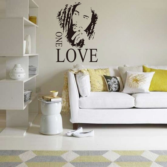 Bob marley wall decal jamaican reggae wall stickers one love for Bob marley wall mural