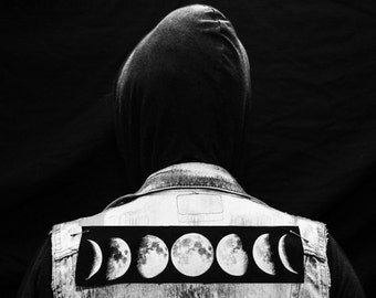 Moon Phase Patch - Denim Back Jacket Levi Occult Grunge Goth Wicca Sacred Geometry WItch Full Crescent Moon Black Tarot Crystal Horoscope