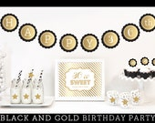 Items similar to black and gold party decorations 30th for 30th birthday decoration packages