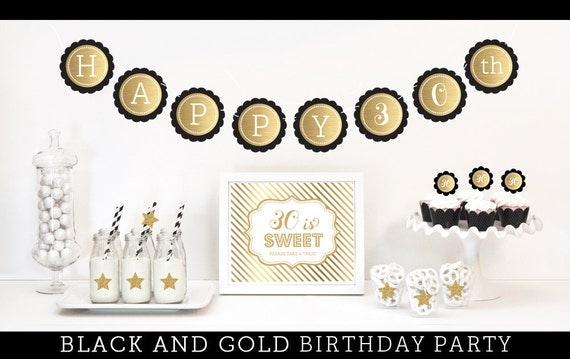 Black and Gold 30th Birthday Party via Kara's Party Ideas