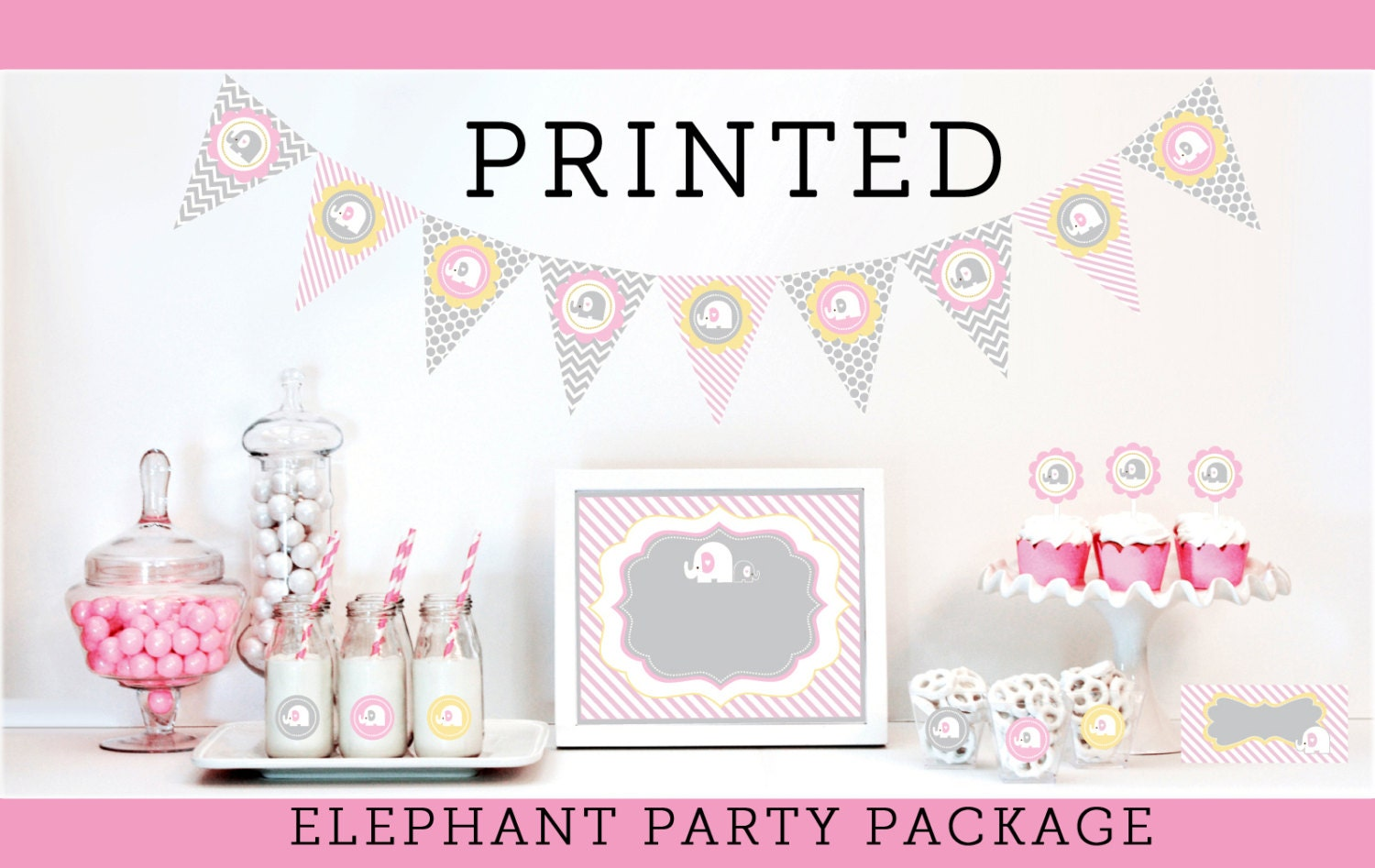 elephant baby shower decorations supplies kit themes for girls. Black Bedroom Furniture Sets. Home Design Ideas