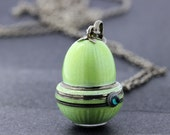 Silver Pear Shaped Watch Necklace with Green Enamel
