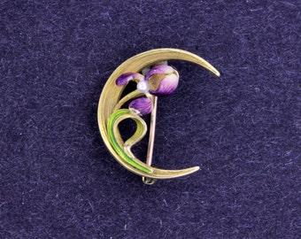 14K Gold Iris Moon Brooch Enamel with Pearl Center