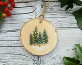 Rustic Wooden Ornament: Tree Cluster