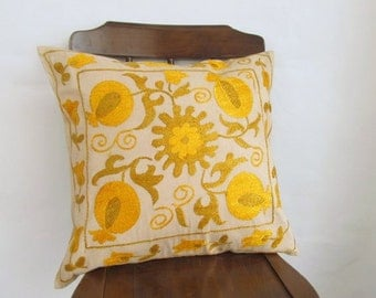 Suzani Embroidered Pillow Cover -Decorative Pillow For Couch - Throw Pillow - Hand Embroidered Pillow - Vintage Uzbek Pillow - Accent Pillow