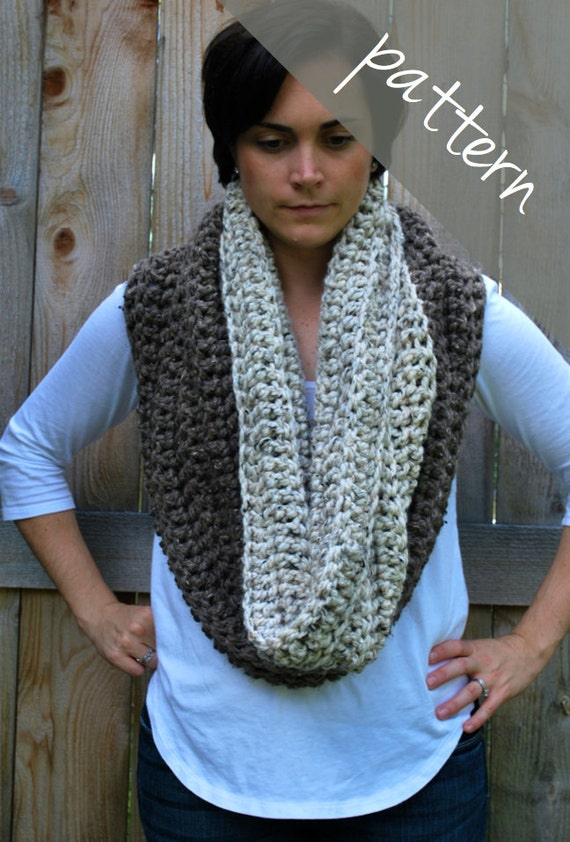 Crochet Pattern Oversized Cowl Chunky Infinity Scarf Easy From