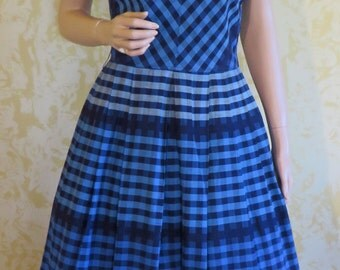 Darling 40's Blue Checked Cotton Rockabilly Swing Dress