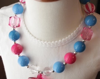 Girls  Blue White Pink  Starfish Necklace