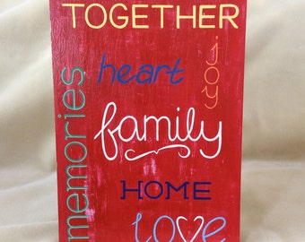 Family Sign - Family Collage Sign - Word Collage Sign - Word Art Sign - Hand Painted Sign