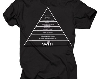 Maslow's Hierarchy Of Needs Wi-Fi Tee Geek Science T-shirt College T-shirt Maslow's Pyramid