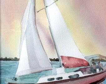Sailing Watercolor Original Painting