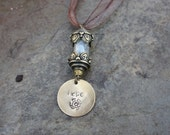 Gift of Hope Aquamarine filled Talisman Vial with Hand-stamped Brass Pendant on Organza Ribbon Necklace