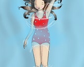 Original Childrens Print - Backstroke Maiden - A4 size