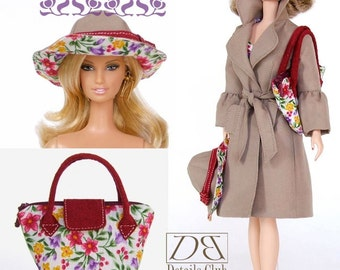 "Sewing pattern for 11 1/2"" doll (Barbie): Tote Bag & Reversible Hat"