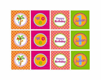 PRINTABLE Party Circles - Colorful Alphabet Party - Cupcake Toppers