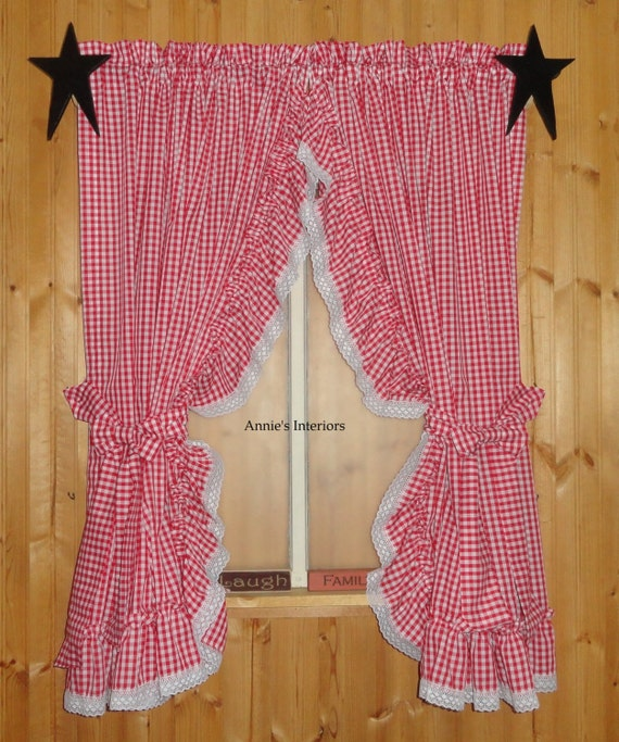 Gingham Curtains Red And White Gingham Curtains Kitchen: Items Similar To Country Red And White Gingham Ruffled