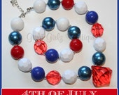 SALE SALE Fourth of july  Girls Chunky Bubblegum Necklace  & Bracelet Set  red white blue 4th of july  photo prop  party jewlery