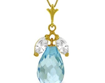 6.70 CT 14k. Gold Necklace With Natural Blue & White Topaz (Yellow Gold, White Gold, Rose Gold)