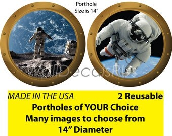 Outer Space Wall Decals,Space Decals,Space Wall Murals,Space Wall Stickers,Space Marine Decals,Porthole Window,Wall Clings, S12S14