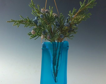 Turquoise Curvy V Fused Glass Vase