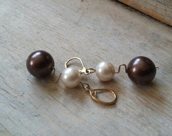 Earrings - Brown and Cream Glass Pearl