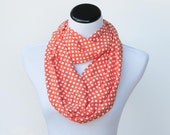 Infinity scarf orange white polka dot scarf - circle scarf loop scarf bright gift idea for her - gift for mom gift for girl