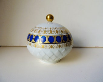 BAVARIA Round Porcelain Box with Lid  Echt Cobalt Blue and 24k gold decor
