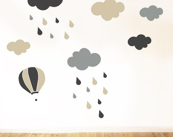 rainy CLOUDS grey optimistic rain for kids wall decal CGhome