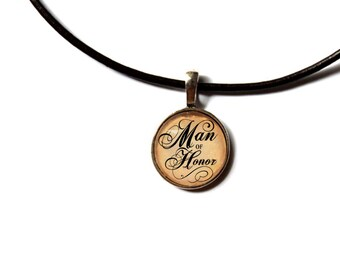 Man of Honor pendant Motivational jewelry Text necklace NW53