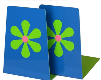 Vintage Mod Flower Power Bookends (Blue, Green and Pink)