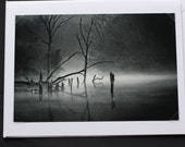Fog on the Water at Mile Hill Lake, Black and White, Greeting Card