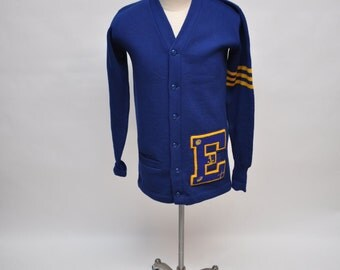 vintage sweater collegiate letterman 1950s lettermen cardigan 50s varsity small