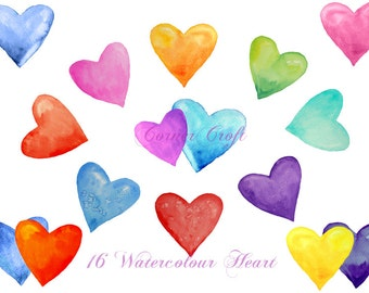 Watercolour hearts digital clip art red pink blue purple printable instant download scrapbook watercolor