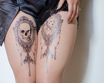 Elegant Chandelier Cameo Tattoo Set