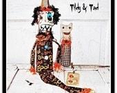 Folk Art Whimssy Witch Cat Raggedy Dolls Tildy & Tad