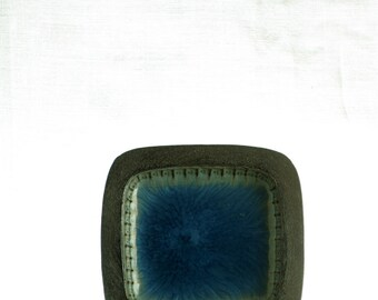 Tusbo, Denmark, small square dish, with blue glaze.