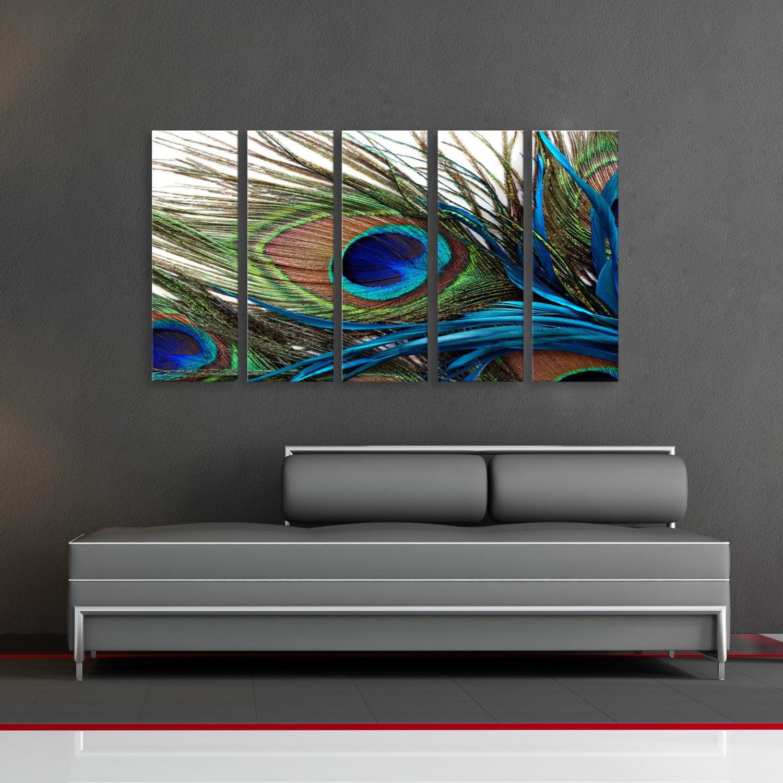 Peacock Feather Oriental Huge Wall Art Decor Fiberboard Print