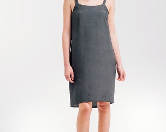 Gray Summer Dress,  Casual Day Dress ,Pockets Dress with Back Buttons, SALE 50% OFF