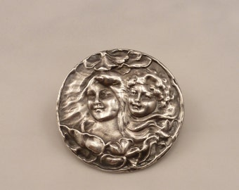 Antique Sterling Art Nouveau Repousse Gibson Girls Brooch Pin.
