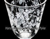 Georgian Garden, hand engraved crystal reproduction wine glass, wild flowers, bee.